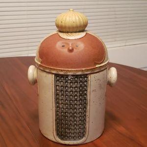 Vintage Folk Art Red Clay Body Cookie Jar